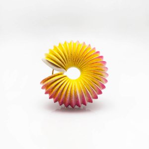 Pink and yellow large size brooch with silver back and 24kt gold leaf