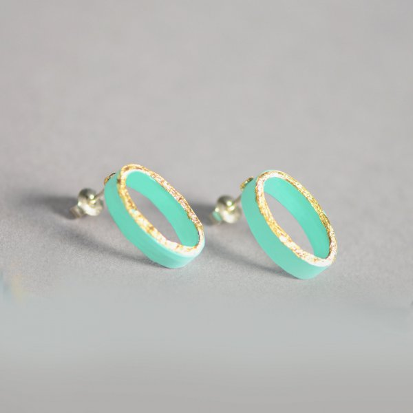 Fresh mint oval earrings with gold front, silver studs