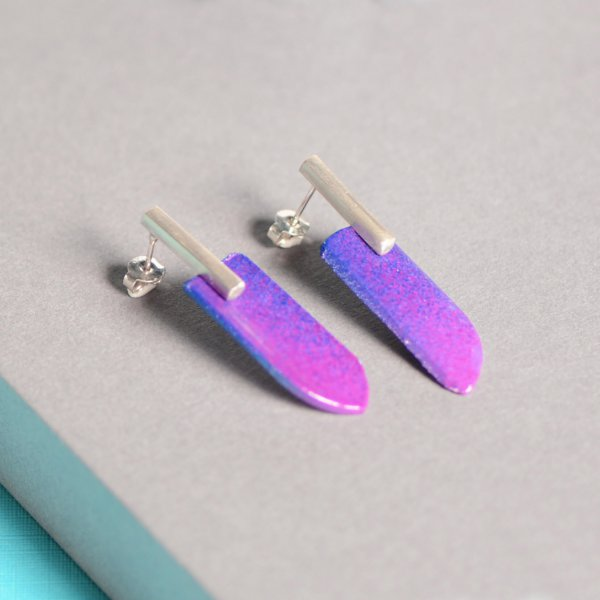 Silver stud earrings with violet and blue plastic wings, handmade