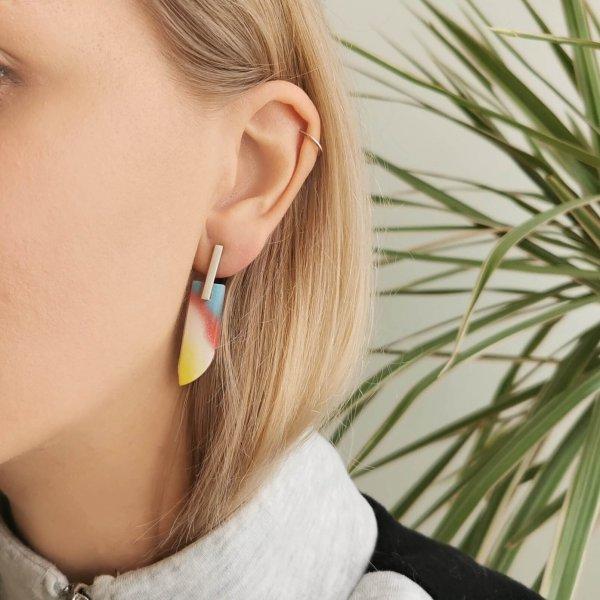 Silver stud earrings with rainbow plastic wings, handmade