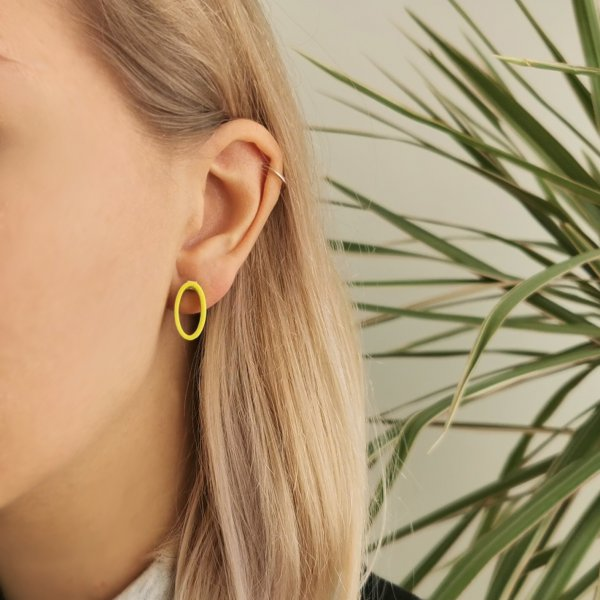 Sunny yellow oval earrings, silver studs