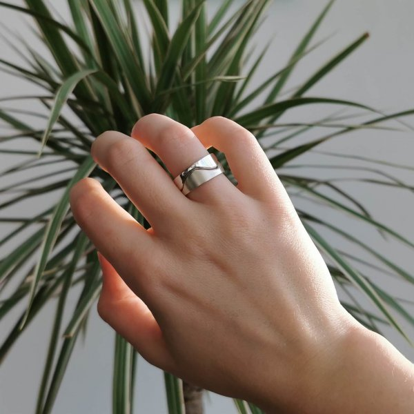 Wave ring, made from two silver rings, one ring polished, the other matte. Can be worn in different combinations