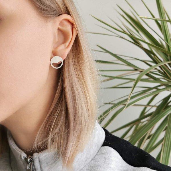 Sunset minimalistic silver earring studs