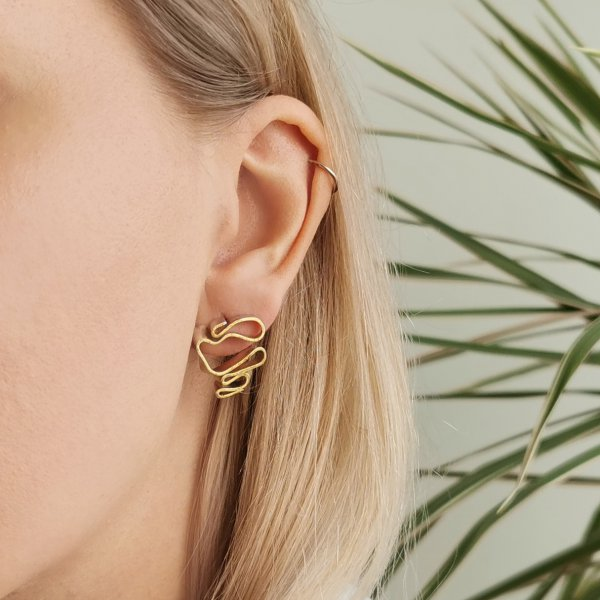 Wave shaped silver earrings half covered with 24kt gold