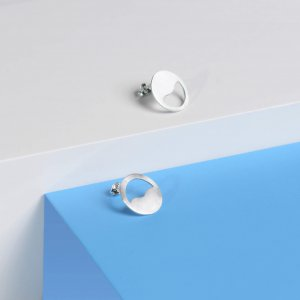 """Sunset/sunrise in the sea"" minimalistic silver earring studs"
